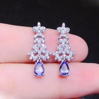 Dangle lustre Colife Bijoux 925 Silver Tanzanite Boucles d'oreilles pour mariage 4mm * 6mm Natural Mode Gemstone Headrop