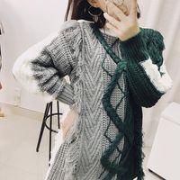 Kadın Kazak Lanmrem 2021 Moda Hit Renk Patchwork Püskül Kazak Dişi Uzun Kollu Kadınlar Için Sıcak Örgü Tops Vestido YH61006