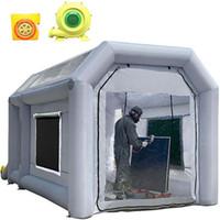 Mini estande inflável da pintura com ventiladores 4x2.5x2.5m estande inflável profissional da cabine de pintura do carro portátil da cabine de carro para a garagem do carro