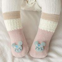 #3 0-24m Kids Infant Baby Boys Girls Spring Thin Socks Cotton Mesh Breathable Cartoon Mouse Print Anti-slip