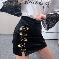 TwotwinStyle 패치 워크 핀 Asymmetrical Women 's Skirts 높은 허리 PU 가죽 캐주얼 미니 스커트 여성 패션 의류 210225