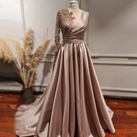 Hot Selling One Shoulder Prom Dresses Scoop Neck Long Sleeve Appliques Bead Evening Gowns Satin Long Party Dress