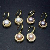 Dangle & Chandelier Fashion Roudn Shape Hook Earrings Natural Freshwater Pearl Rhinestone Crystal Setting Gold Plating Women Jewelry