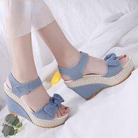 Dress Shoes 2022 Designer Denim Sandals Women High Quality Wedges Heels Peep-Toe Platform Woman Thick Bottom