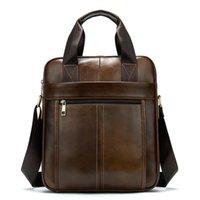 Briefcases Luxury Men Briefcase Portfolio Cowhide Leather Men's Totes Handbag Business Bag Male Genuine Crossbody