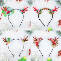 Saç Aksesuarları Kırmızı Boynuz Bandı Tüy Çan Berry Noel Günü Çocuk Kartı İhraç