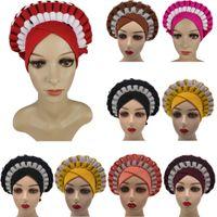 Cappucci africani con pietre Aso Oke Hijab Gelee Headtie già reso Turban Head Wrap Ladies Hat Cappello Auto Cap Headtie Aso Oke Gele Gele