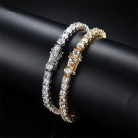 الهيب هوب التنس الماس سلسلة أساور للرجال الأزياء الفاخرة النحاس زركون سوار 7 بوصة 8 بوصات الذهبي الفضة سلاسل مجوهرات 101 T2