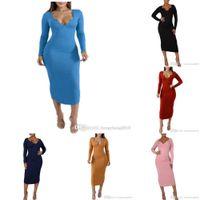 2021 Autumn Women Maxi Dresses Designer Popular Solid Color V-Neck Long Sleeve Slim Wrap Hip Skirt Sexy Bodycon Dress Clubwear