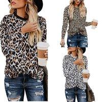 Women's T-Shirt 2021 Autumn Cross-border Explosions Leopard Print Round Neck Long-sleeved Shirt