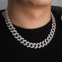 Necklaces 18 Inch 925 Sterling 18mm Silver Setting Iced Out Moissanite Diamond Hip Hop Cuban Link Chain Miami Necklace Jewelry for Mens 2w2j