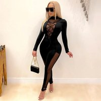 Womens Laced Hollow out skinny jumpsuit Novo Chic Sheer Malha de Velvet Romper Workout Motorais Clube Desgaste Sexy Outfits
