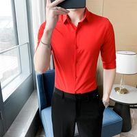 Men's Casual Shirts Fashion High Quality Mens Solid Men Dress Half Sleeve Slim Club Style Business