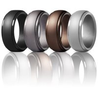 Wedding Rings 4pcs Metal Color 8MM 100% Natural Silicone Ring Hypoallergenic Men Safe Grade Soft Rubber