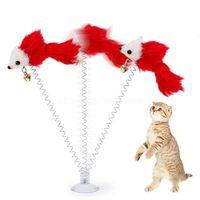 Lustige Swing Frühling Mäuse mit Saugnapf Pelzige Katze Bunte Feder Tails Maus Spielzeug Für Katzen Kleine niedliche Haustierspielzeug CJ08