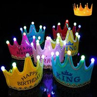 Children's birthday party decoration hats Christmas glowing crown cap baby one-year-old adornment supplies date of birth hat T2I52938