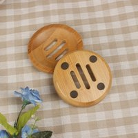 Round Mini Soap Dish Creative Environmental Protection Natural Bamboo Drying Soaps Holder Bathroom Accessories ZWL443