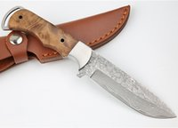 On Sale!! Outdoor Survival Straight Hunting Knife Damascus Steel Drop Point Blade Full Tang Shadow Wood Handle Fixed Blades Knives With Leather Sheath