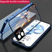 Metal 360 Przypadki do iPhone 11 12 Pro Max klamra Instalacja szkła FIT X XR 7PLUS 8 Case Funda Bohper Luksusowy Coque Telefon pokrywa
