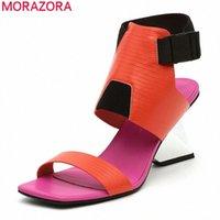 MORAZORA 2020 Новое Прибытие Мода Высокие каблуки Сандалии Летние Смешанные Цвет Классические Женские Насосы Высококачественная вечеринка Обувь Сандалия Леди Шо F27P #
