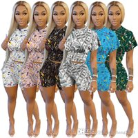 Summer Women Two Piece Pants Short Outfits Sexy Sports Waist Set Fashion Leisure Printed Short Sleeve Shorts Ladies Casual Jogger Suits S-XL