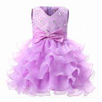 Wholesale- Newborn Baby Princess Wedding Baptism Dress Girl Clothes Ball For 1 year birthday Party Girls Dress Kids Clothing Girl Dresses c2w0#