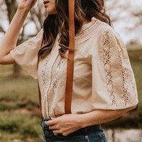 Damenbadbekleidung gestickte Bluse Kurzarm Openwork Spitze Elegant Patchwork Femme Hauts Rundet Halsausschnitt Tops Vintage Chic Blusen 95bk