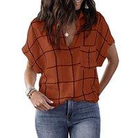 Women's Blouses & Shirts Plaid Print Blouse Women Summer Clothing Pocket Tops Tunic Female Lady Loose Short Sleeve V Neck Streetwear D30