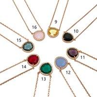 Collier de concepteur de pierre ornementale multiple Slice Candy Crystal Collier Collier bijoux Micro Inlay Diamond Colliers Robe de mariée bijoux 2021