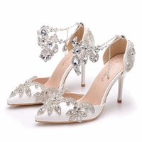 Sandals Women's high heels crystal queen, blue party shoes with wedding diamonds, stage, dress, shoes, bridal slippers NPXE