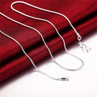 Мода Ювелирные Изделия Серебряная Цепочка 925 Ожерелье Змея Сеть Для Женщин 1 мм 16 18 20 22 24 Дюйма 97 T2