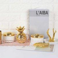 Nordic Ceramic Bijoux Gold White Tank Boîte De Stockage Boite Européenne Simple Princesse Ornements Décoratifs Wshyufei