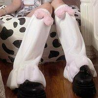 Socks & Hosiery 1 Pair Women Pink Bow Plush Autumn Winter Japanese Style Sweet Ruffles For Daily Wear