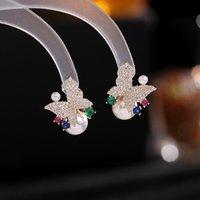 Pearl Stud Earrings for Women Wedding Party Elegant Jewelry Colorful Crystal Zircon Butterfly Earring Korean Sweet Accessories