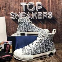최고 품질 B 22 23 남성 여성 캐주얼 신발 패션 야외 플랫폼 낮은 비스듬한 기술 가죽 캔버스 남성 여성 트레이너 디자이너 상자 크기 36-46