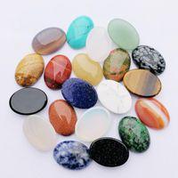 Pedra semipreciosa de cristal natural 25x18mm remendo de pedra cara para colar de pedra natural anel brincos de jóias acessório
