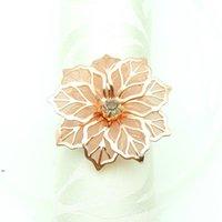 Flor em forma de anel de guardanapo de metal guardanapo de metal Buckle Anéis Hotel Party Party Table Decoração Toalhas Decoração Fivela multi cores LLF8600