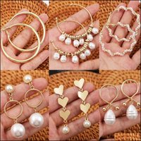 Stud Jewelryins White Baroque Pearls Earring Alloy Women Natural Conch Shells Earrings Drop Delivery 2021 Mne