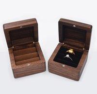 Caixa de jóias Creative de madeira anel de madeira caixa de armazenamento de jóias pingente caixa de aresta preto caixas de madeira maciça wwa191