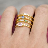 Wedding Rings Fashion Female Color Geometric Crystal Joint Gold Ring Set Simple Women Birthday Party Jewelry Gifts