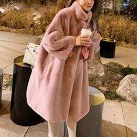 Bella Philosophie Winter Frauen Nerz Pelz Lose Mäntel Luxus Verdicken Warme Damen Übergroße Weibliche Plüsch Cardigan Outwear 210222