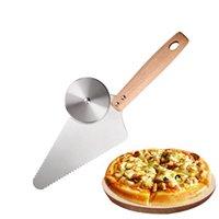 Backengebäckwerkzeuge Pizza Cutter Server Slicer Edelstahl Radklinge Messerschaufel mit Holzgriff für Brotkuchen Waffeln XBJK2106