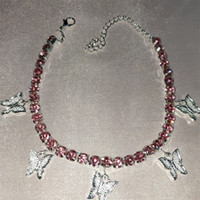 Stonefans Gold Tennis Strass Gioielli per le donne Crystal Butterfly Pendant Anklet Beach Foot Catena Braccialetto 191 U2