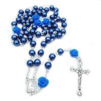 Collana rosario per perle rosario 6mm croce Cristo gioielli cattolici
