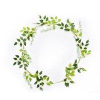 Wisteria flor artificial vid hiedra hoja guirnalda seda boda vid cuerdas arco decoración jardín floral ratán ratán fl u1n4