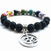 Charm Bracelets DIEZI Fashion Yoga 8mm Multicolor Beads 7 Chakra Stone For Women Men Jewelry Leaves