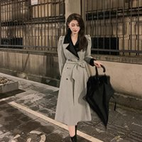 Women's Trench Coats SuperAen French Plaid Spliced Slim Single Breasted Long Turn Down Collar A Line Office Lady Women Fashion Coat