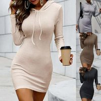 Casual Dresses 2021 Autumn Women Dress Solid Color Hooded Slim Sexy Mini Drawstring Long Sleeve Sheath Lady For Daily Wear