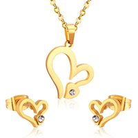 Wedding Jewelry Set Stainless Steel Mama Love Heart Rose Flower Pendant Necklace Earrings Mom Thanksgiving Gift