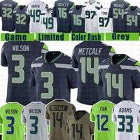 "3 Russell Wilson DK Metcalf Fußball Jersey Jamal Adams 12s Bobby Wagner Wright Tyler Lockett Steve Waggy Carson Shaquem Griffin Seattle ""Seahawks"" K.j. Wright"